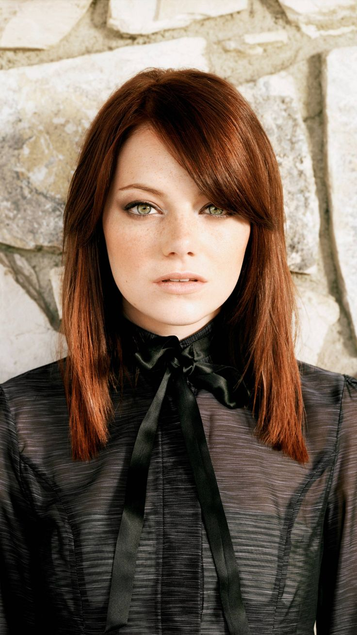 Do you love Emma Stone's Deep Copper tone?! Try eSalon's Light Brown Mahogany Copper 6.54 at home hair color!
