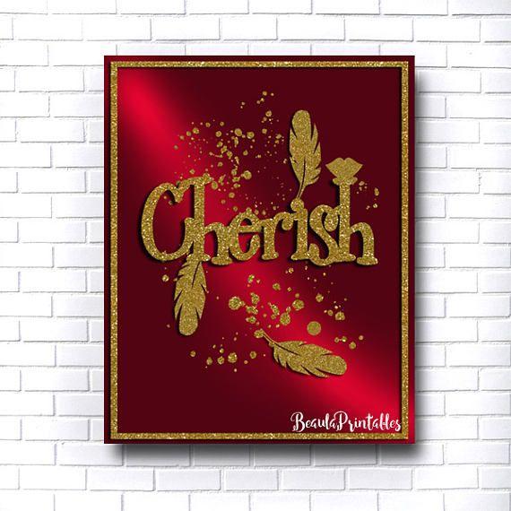 Cherish Inspirational Print Burgundy and Gold Nursery Decor
