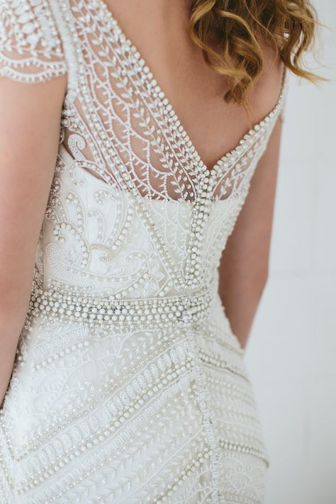 Anna Campbell Bridal Florence Dress | Ceremony Collection | Hand-beaded vintage inspired embellished wedding gown | Ivory and pearl toned beading | Classic Ivory Bridal Bouquet | White Magazine Photographer White Images