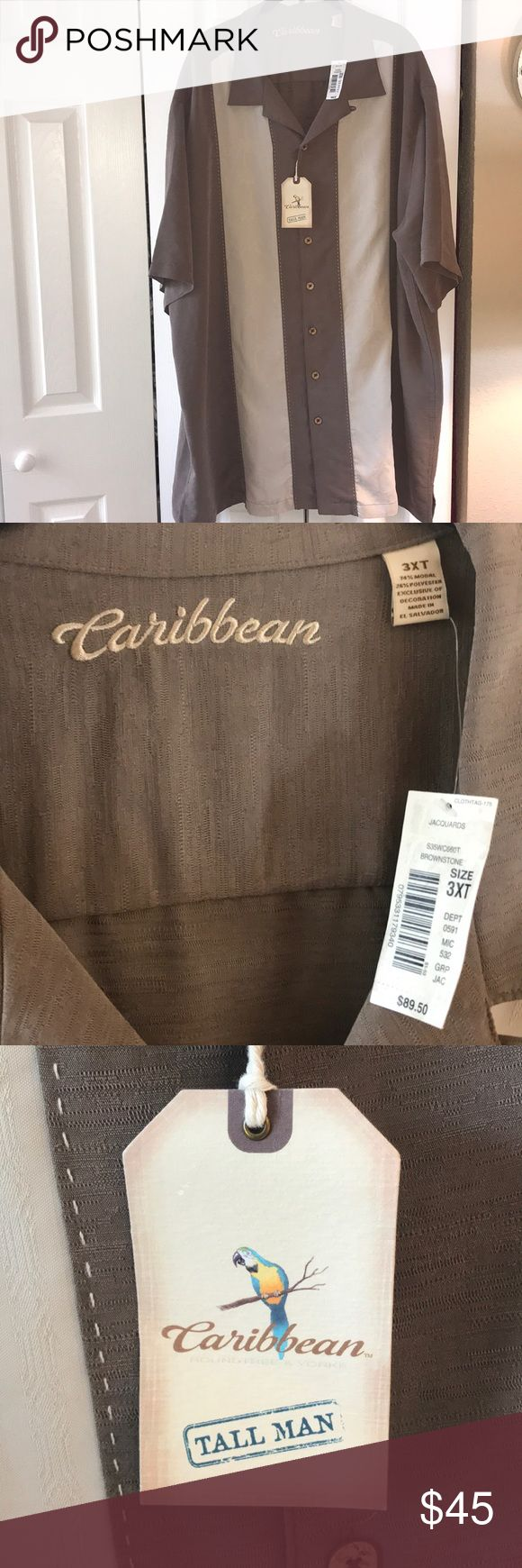 Caribbean shirt Caribbean mans buttons down shirt in taupe and cream. Accents of palm trees throughout. Buttons even have palm trees etched in them.  3XLT Very nice shirt! Caribbean Shirts Casual Button Down Shirts