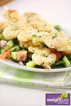 Healthy Lunch Recipes: Prawn Skewers with Cucumber Salsa. #HealthyRecipes #DietRecipes #WeightLoss #WeightlossRecipes weightloss.com.au