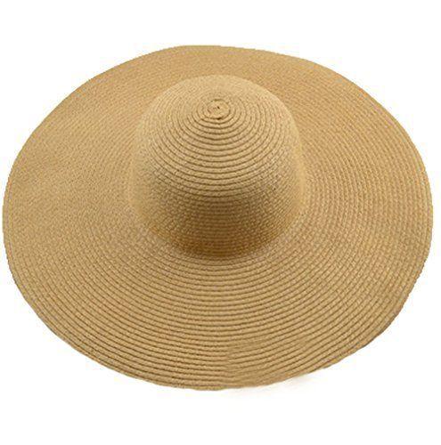 02bfc9703ba AngelCity Brides Womens Beach Hat Striped Straw Sun Floppy Big Brim Khaki  Hats  AngelCityBrides