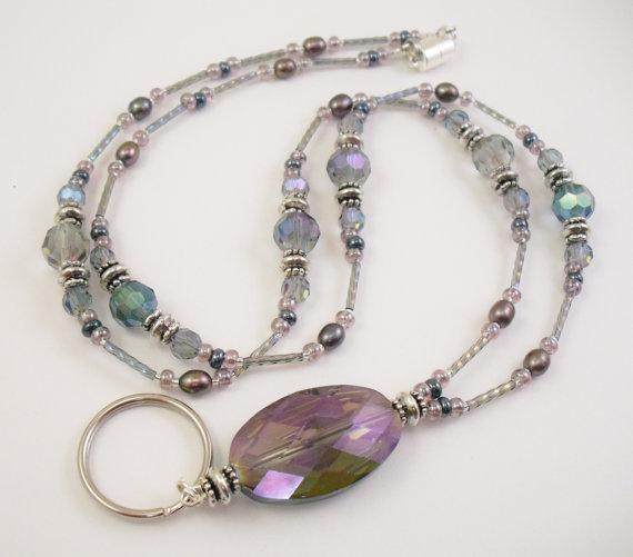 Rainbow Crystal Glass Beaded Lanyard ID Badge Holder by mmojewelry