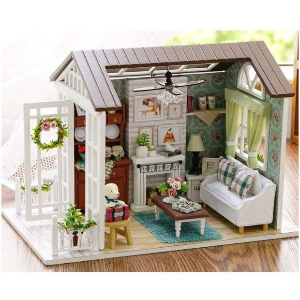 Miniature Doll House Cabin Living room DIY Build it Yourself