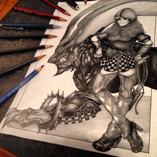 A drawing of one of my original characters with a Behemoth from Final Fantasy XIII.