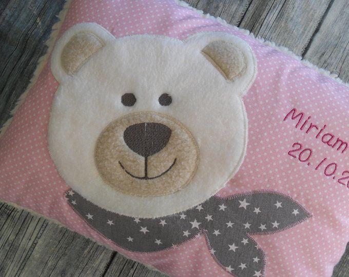Teddy girl mint Kissen mit Namen zur Geburt
