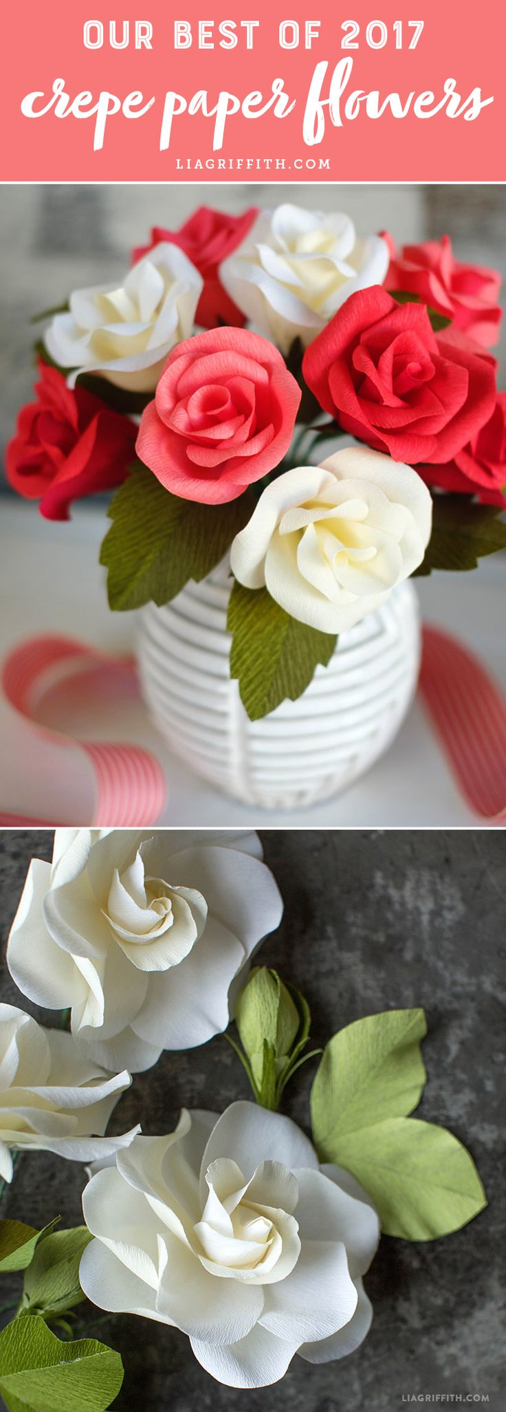 Our Best of 2017 Crepe Paper Flowers - Lia Griffith - www.liagriffith.com #paperflower #paperflowers #paperart #paper #crepepaper #crepepaperflowers #crepepaperrevival #diyproject #diyprojects #diyinspiration #diycraft #diycrafts #diyidea #diyideas #madewithlia