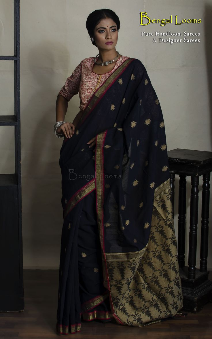 Black Handloom Resham Silk Jamdani Saree .