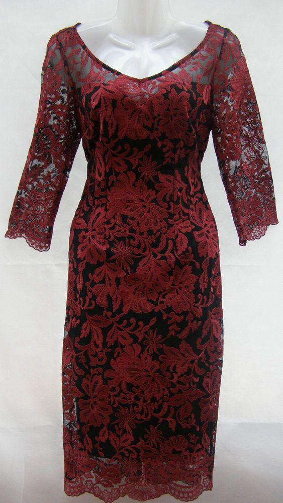 Per Una Black Dress Part - 34: Marks U0026 Spencer Per Una Red Embroidered Floral Lace Pencil Dress Size 10