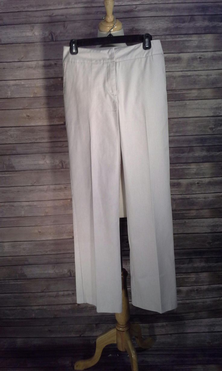 Dialogue Cream Pants with Tiny Khaki Pinstripe Pants