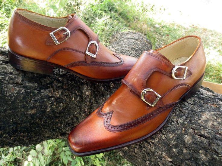 Handmade Men fashion style wingtip double monk dress shoes, Men formal shoes  #Handmade #WingTip #Formal