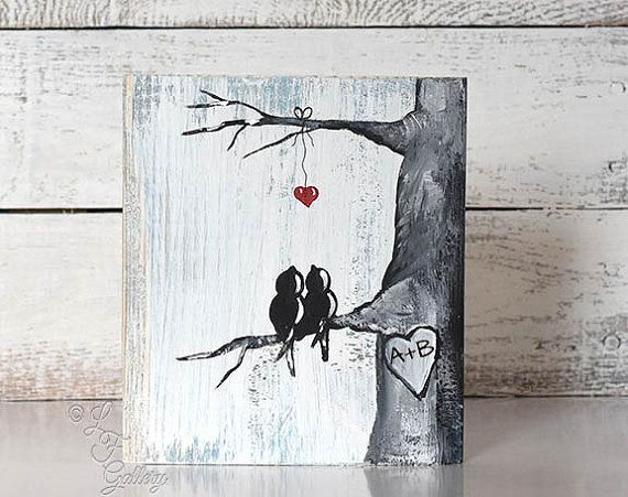 Rustic Wood Signs  Wood Art Wood Sign Love Bird Painting Wood 5th Anniversary Gift Custom Wedding Gift for Couple Heart in Tree Art