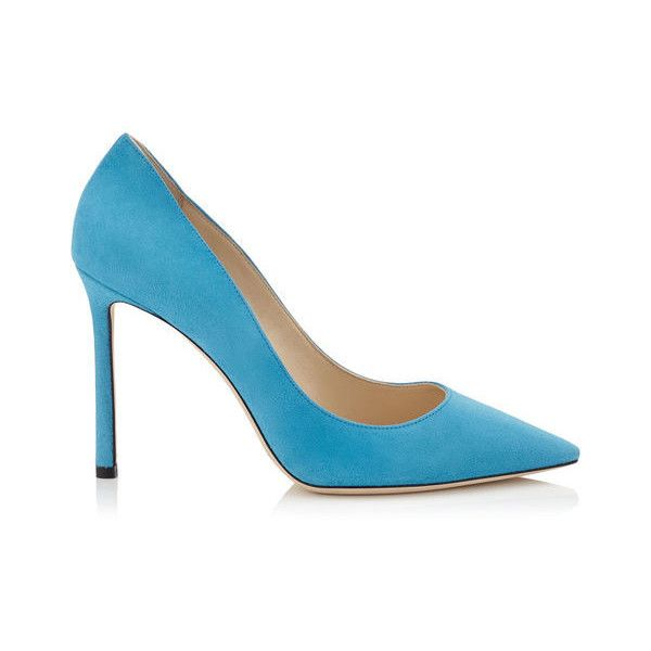 JIMMY CHOO Romy 100 Robot Blue Suede Pointy Toe Pumps (2.245 RON) ❤ liked on Polyvore featuring shoes, pumps, suede material shoes, blue suede pumps, suede leather shoes, pointed toe shoes and blue suede shoes