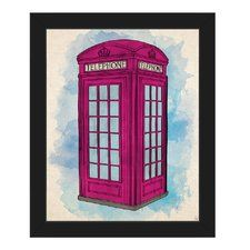 'Pink Telephone Booth on Blue' Framed Painting Print on Canvas