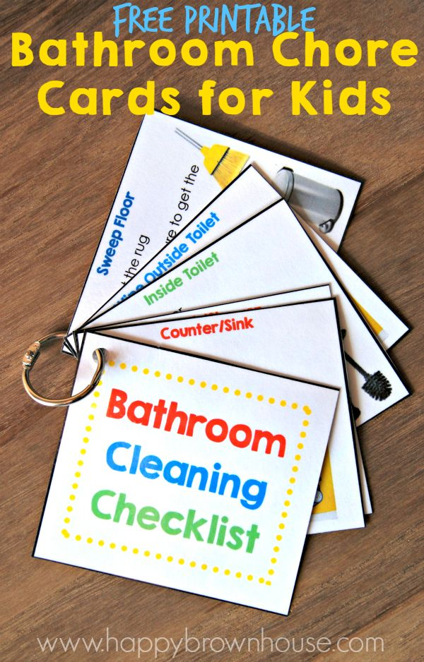This Bathroom Cleaning Checklist for Kids includes everything needed to clean the bathroom, including a Bathroom Cleaning Kit and chore cards.