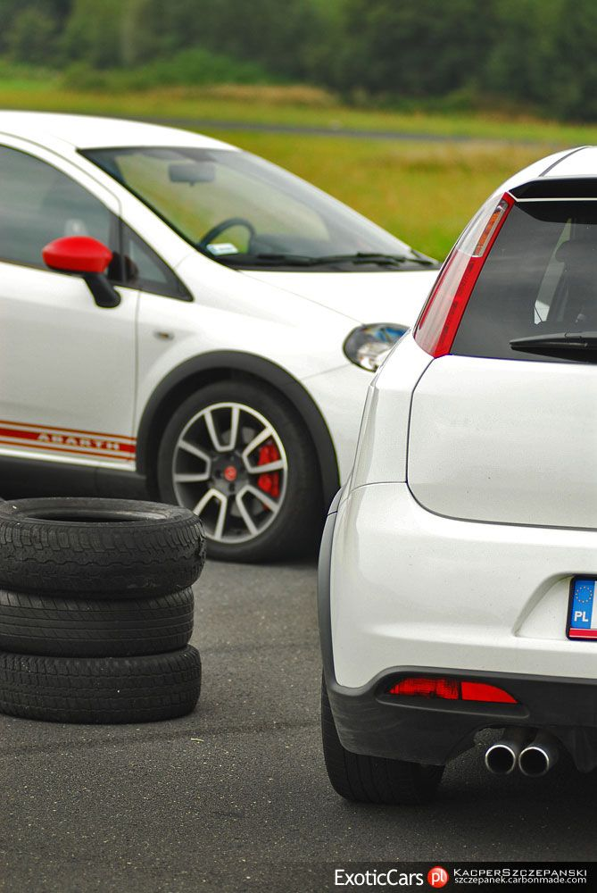 White italian bad boys: Abarth Grande Punto http://exoticcars.pl/testy/abarth-grande-punto/