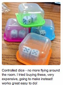 """I found this idea on Pinterest.  Put dice inside mini containers to help with """"flying dice"""" control.  I love this idea especially this year because I have some boys who sometimes forget how to keep the dice in their area!"""
