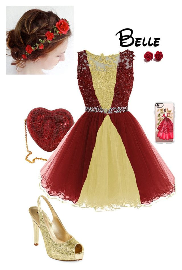 """""""Disney Christmas Party - Belle"""" by briony-jae ❤ liked on Polyvore featuring A.N.A, Judith Leiber and Casetify"""