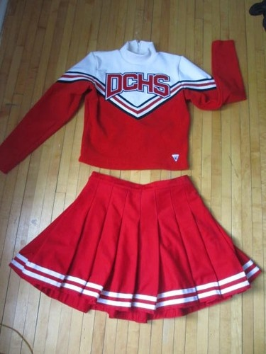 Anyone need a radical cheerleader costume? (Vintage Cheerleader Uniform Dress Skirt Sweater Top Teen Women's Varsity Cute XL | eBay)