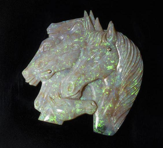 Opal carving of horses, c. 1995, by Erwin Pauly of Idar-Oberstein