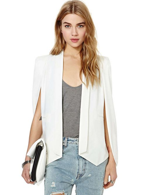 Wholesale Distinctive design solid open sleeve fashion cape blazers HY-141356613 - Lovely Fashion