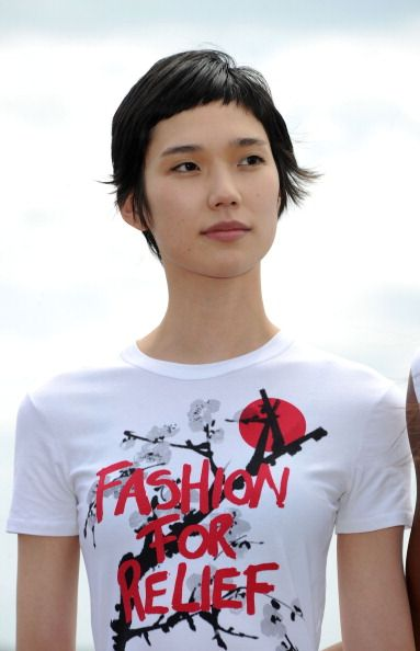 Tao Okamoto, pixie cut w/ baby bangs.  I'm imagining if I grow my hair out some, at some point, it will look like this.