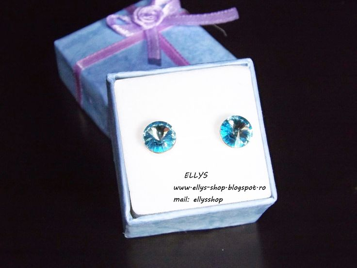 Ellys Shop: Cercei argint si cristale swarovski bleu