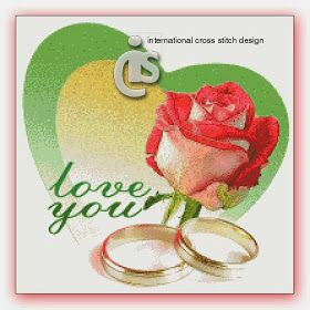 International Cross Stitch: love, red rose and rings
