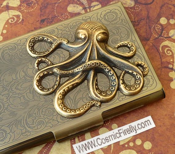 Brass Octopus Card Case Steampunk Business Card by CosmicFirefly