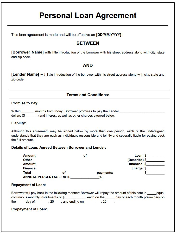 Printable Sample Personal Loan Agreement Form Private