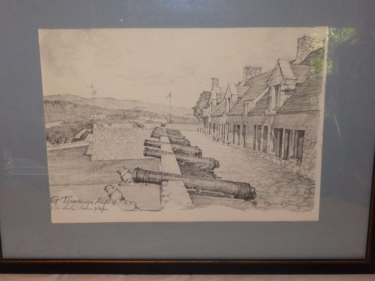 Vintage Charles Overly Pencil Drawing Fort Ticonderoga Framed Matted Print  #Traditional