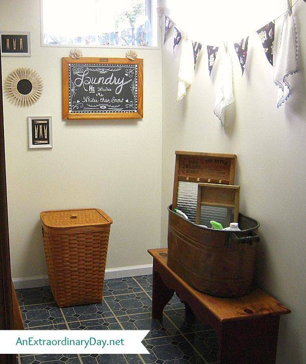 Cottage Style Laundry Room Makeover :: AnExtraordinaryDay.net - Copper boiler on…