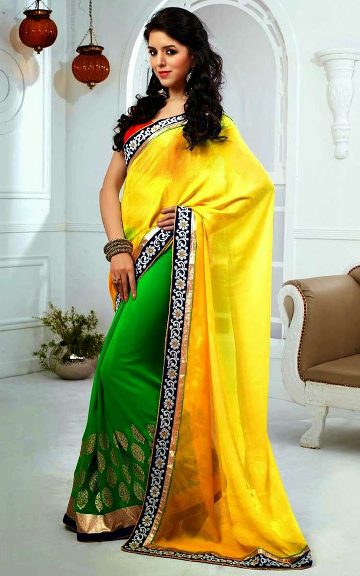 YELLOW & GREEN FAUX GEORGETTE LATEST SAREE - SKY 1011
