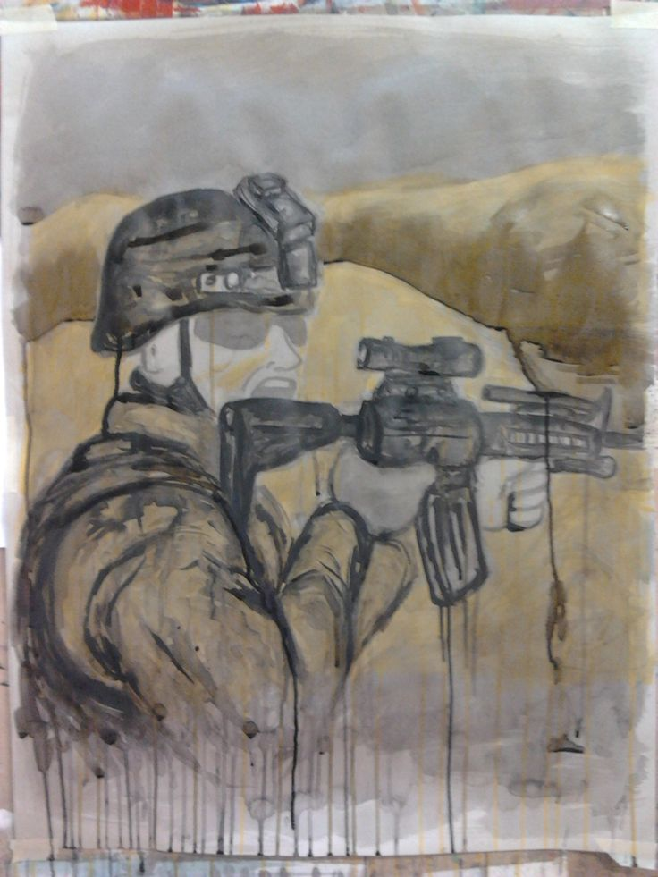 Final Soldier #1  Ink and acrylic