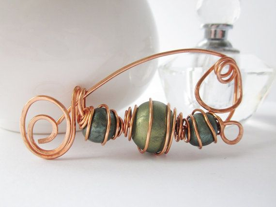 Scarf pin shawl pin or fibula brooch of copper wire and by Lagneys