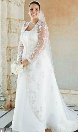 If you are looking for plus size wedding dresses with sleeves, but are not having any luck, then consider wearing a bridal jacket over the gown. It will give you two looks in one. Repin Now!
