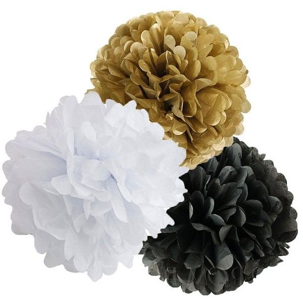 Amazon.com: Wcaro Mixed Gold Black White Party Decor Kit Paper lantern Paper Honeycomb Balls Tissue Pom poms Flower Themed Party Hanging Decoration Favor for Birthday,Wedding, Christening,New Year's Eve: Toys & Games featuring and polyvore,