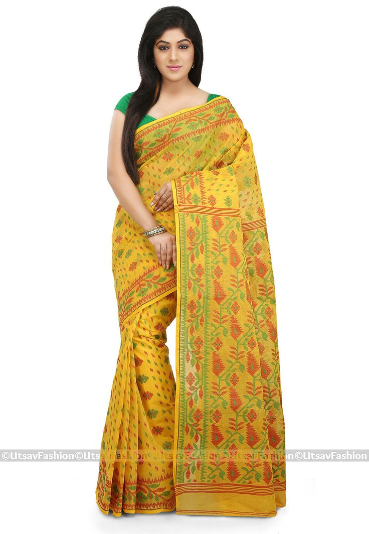 Cotton Saree in Yellow Beautified with Jamdani Pattern and Thread Woven Available with an Unstitched Cotton Blouse in Green Free Services: Fall and Edging (Pico) Do Note: Blouse and Accessories shown in the image are for presentation purposes only(Slight variation in actual color vsimage is possible.)