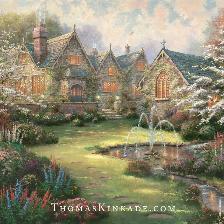 "We are honored to present you with the latest release from the Thomas Kinkade Vault – ""Garden Manor"". The second piece in the ""Mansions in Paradise"" Collection, this painting reflects Thom's love of the English Manor House. Its bright and glowing windows speak of family and a loving togetherness that gave special meaning to the passing of each day. Join us at ""Garden Manor"" and celebrate life, serenely happy and wrapped in the comforting surroundings of a life well lived."