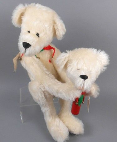 """Adopt a Bear today1989 Christmas Bear by: Diane Gard 16"""" (seated) fully jointed mohair bear, poly-stuffed. Holds matching open mouthed marionette puppet, which attaches to paws with velcro. Glass heart on chest. Original paper tag and tush tags."""