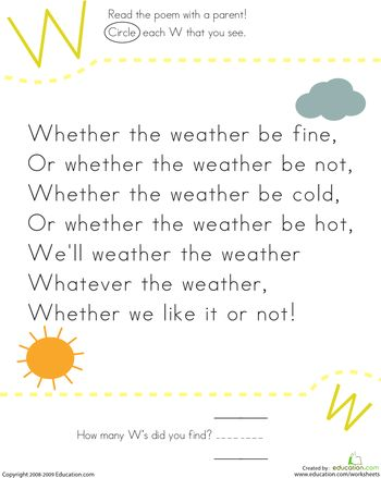 Worksheets: Find the Letter W: Whether the Weather