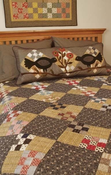 quilt, pillow, wall hanging--all incorporating the 9-patch block, but each a little different! Looks great together.
