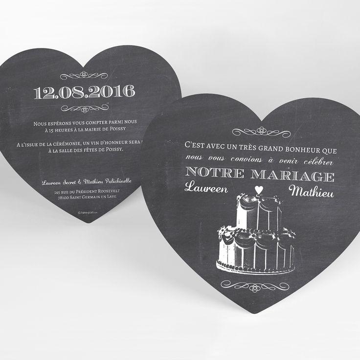 Wedding Cake : faire-part mariage cœur ardoise