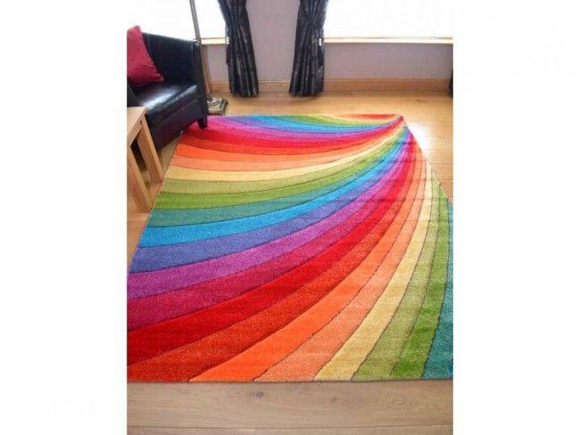Candy Multicoloured Rainbow Design Rug