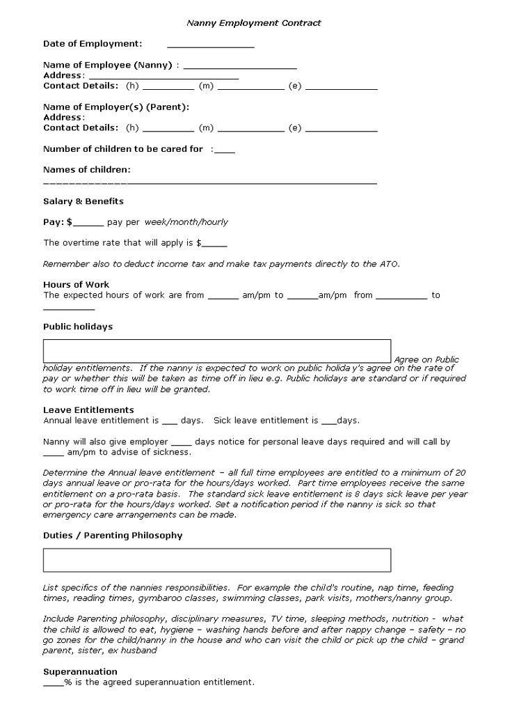 Nanny Contract Sample Self Employment Agreement Documents In Pdf