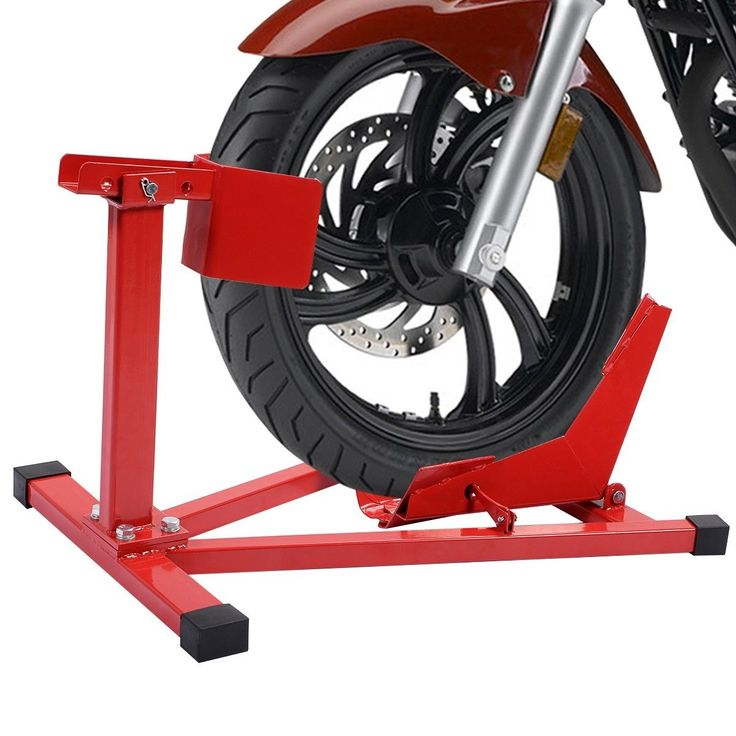 "Motorcycle Sport Bike Front Wheel Chock Lift Stand Fits 16""-18"" Tires"