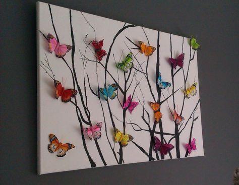 verf takken op canvas en koop vlindertjes bij de action of andere goedkope winkel en bevestig ze op het canvas met lijm, leuk resultaat!