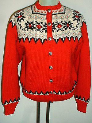 Vintage O.Allers Nilssen Norwegian Handknit Wool Cardigan Sweater Norway Redblack | eBay