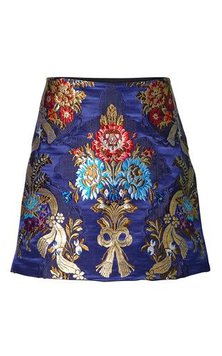 This **Romance Was Born** Opulent silk brocade skirt features a short a-line silhouette with floral embroidery.