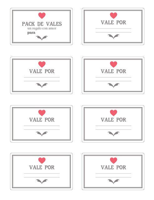 Regalos manuales de amor: Imprimibles: Vales / Cupones de amor para San Valentín (Recopilación)